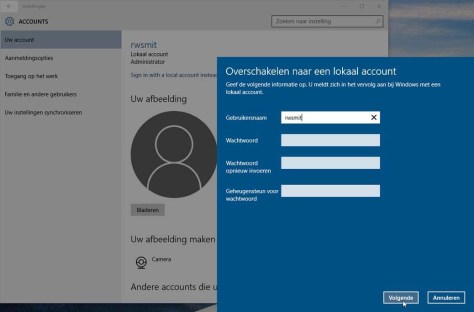 Een lokaal account kost je een paar kleine cloudfeatures, maar geeft anderzijds veel privacy terug.