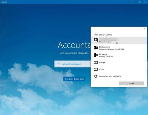 Windows 10 Agenda en Mail