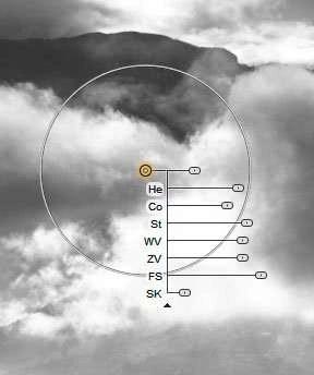 Met Selectieve aanpassingen kunt u cirkelvormige gebieden van een zwart-witfoto apart behandelen.