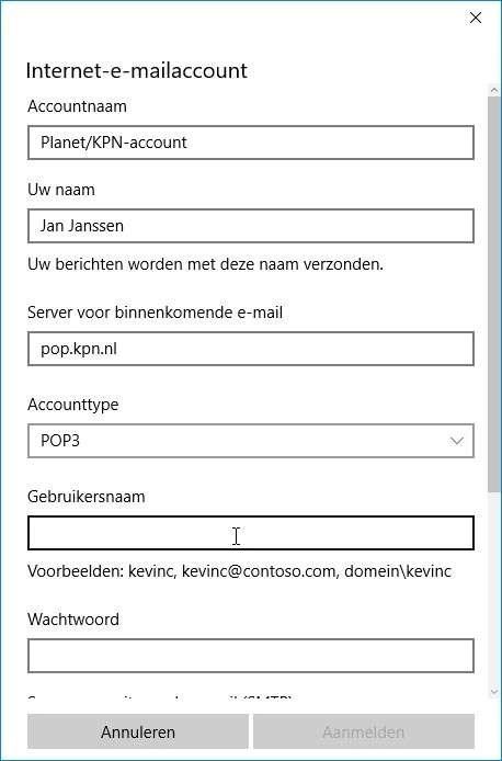Vul de gegevens in die bij je provider-mailaccount horen.