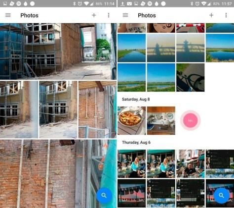 Verschillende manieren om naar je foto's te kunnen kijken: links Comfortable view, rechts Day view.