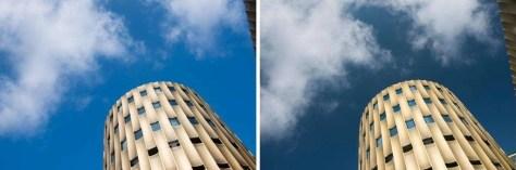 Een voorbeeld waarbij het polarisatiefilter te veel effect heeft. Deze moderne parkeergarage in Utrecht is een relatief licht onderwerp en reflecteert veel licht. Daardoor zal de lucht al donkerder worden weergegeven. Het polarisatiefilter (rechts) zorgt voor een onnatuurlijk donkere lucht.