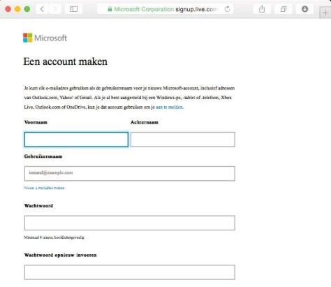 Een Microsoft-account maken.