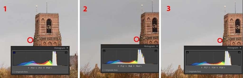 Neem van de eerste foto een punt uit de overlapping met de volgende aansluitende foto en meet daar de waarde van de RGB met de cursor (1). Kijk in het histogram naar de waarde die dat punt heeft. In feite heb je alleen de eerste waarde nodig. Die is R 77,3. Vervolgens ga je naar de volgende foto en meet daar het zelfde punt op de foto (2). Dat is R 71,2. De gemeten waarde is donkerder dan in de eerste foto. Zet de schuifregelaar bij Belichting wat naar rechts, zodat de foto lichter wordt, schuif net zo veel totdat je ongeveer R 77,3 bereikt op het gemeten punt (3). 77,7 is ook prima.