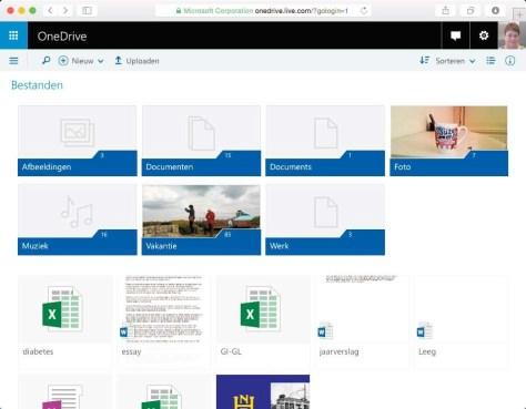 OneDrive is altijd beschikbaar via de browser.