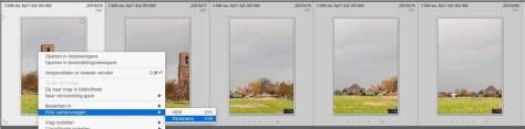 Als er een reeks foto's in de Bibliotheek zijn geselecteerd kun je met rechtsklik vanaf een van die foto's het pop-up-menu oproepen en daar bij Foto's samenvoegen kiezen voor Panorama.