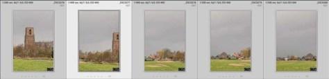 De vijf foto's waaruit het panorama samengesteld wordt. Bij de meest linkse foto zit de horizon wat hoger dan bij de rest van de foto's.  Toch kan er nog een goed panorama mee gemaakt worden.