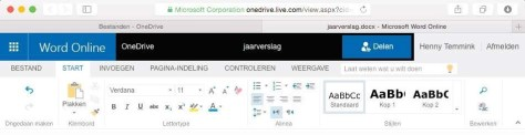 Een Worddocument bewerken in de browser.