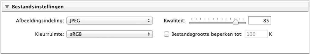 Wanneer er een bestand dat geschikt moet zijn voor het web moet worden geëxporteerd, dan is sRGB de geëigende keuze.