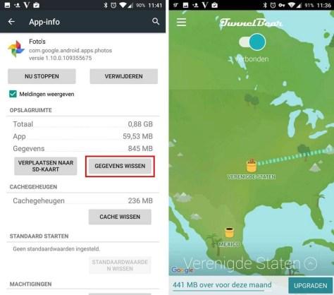 Kies bij de App-info van Google Foto's voor Gegevens wissen en maken via TunnelBear een VPN-verbinding met de Verenigde Staten.