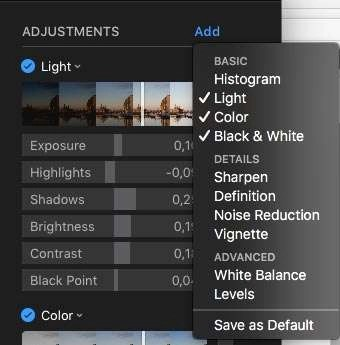 Het drop-down-menu bij Add geeft je veel extra gereedschappen: Histogram, Sharpen, Definition, Noise Reduction, Vignette, White Balance en Levels.