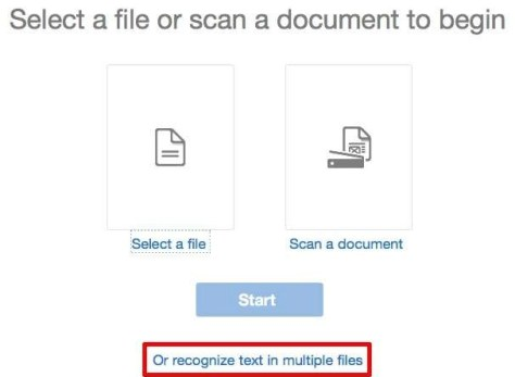 Kies voor Recognize text in multiple files.