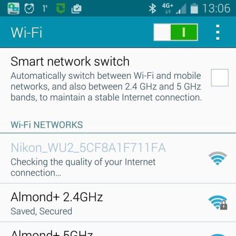 Op je smartapparaat kies je bij de Wi-Fi-instellingen voor het Nikon-netwerk van je camera. Dit netwerk begint altijd met Nikon_ (het afgebeelde scherm is van een Android-apparaat).