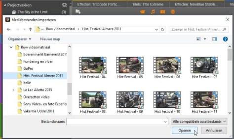 Selecteer de mediabestanden die u in uw project wilt opnemen en klik op Openen.