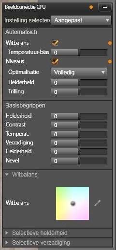 Het paneel Beeldcorrectie CPU waarmee u waarden in kunt stellen.