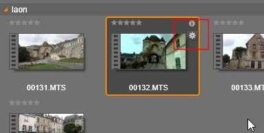 Klik vervolgens op OK en de clip is aangepast. Dit kunt u zien aan het tandwieltje dat rechts naast de thumbnail is geplaatst. Indien de waarden weer worden teruggezet naar de beginwaarden dan wordt het tandwieltje niet meer weergegeven.