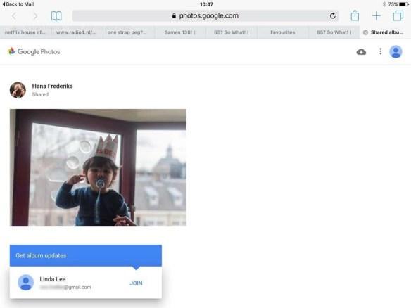 De link gaat bijvoorbeeld op de in de browser op het apparaat waar je de link aanklikt. Je kunt jezelf bij het album voegen (Join).