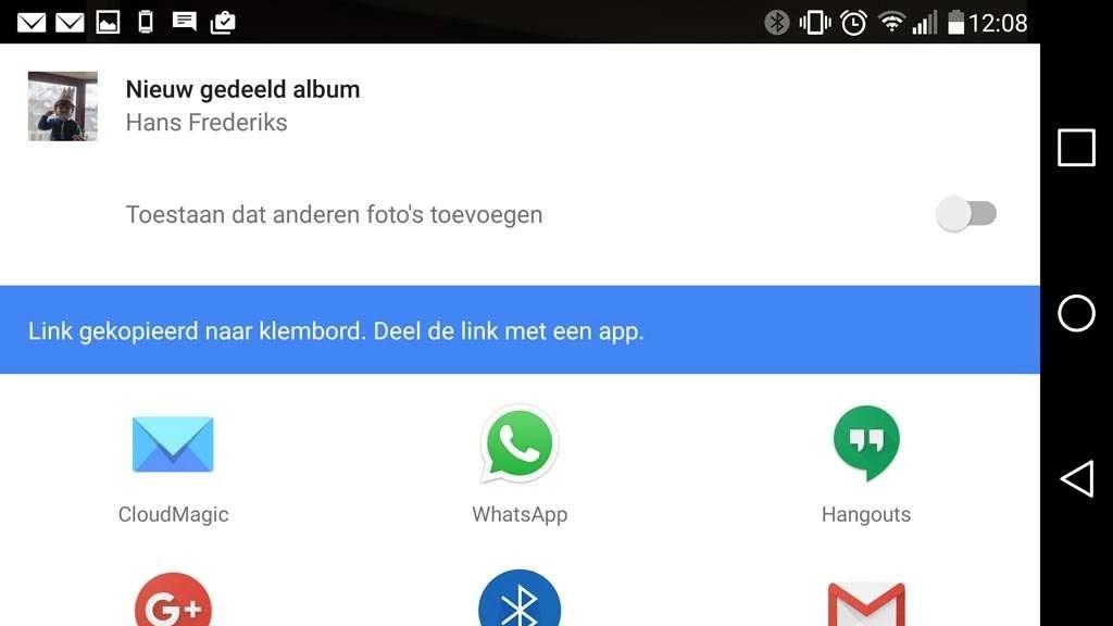 Bij het kiezen voor een Link, maakt Google Foto's een Nieuw gedeeld album. Je kunt kiezen of anderen die de link ontvangen foto's mogen toevoegen aan het album en vervolgens kun je de link delen middels de apps op je mobiele apparaat.