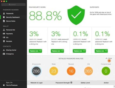 De password manager Dashlane analyseert je wachtwoorden en vertelt je of ze veilig zijn en welke wachtwoorden je moet aanpassen.