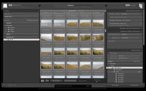 Het dialoogvenster Importeren, waarin u kunt bepalen waar de foto's naartoe moeten worden gekopieerd, waar de back-up wordt bewaard, hoe de namen van de foto's moeten luiden enzovoort.