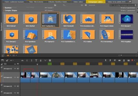 De rimpelovergang is toegevoegd aan de clips in de tijdlijn.
