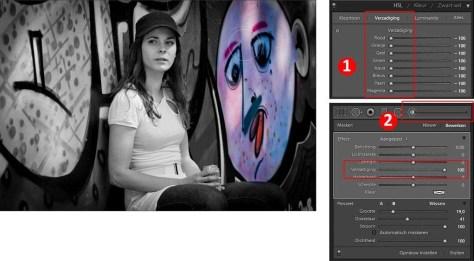 Kleur inschilderen met het Aanpassingspenseel, Verzadiging -100%. Zet Automatisch maskeren aan of uit, afhankelijk van de benodigde nauwkeurigheid.