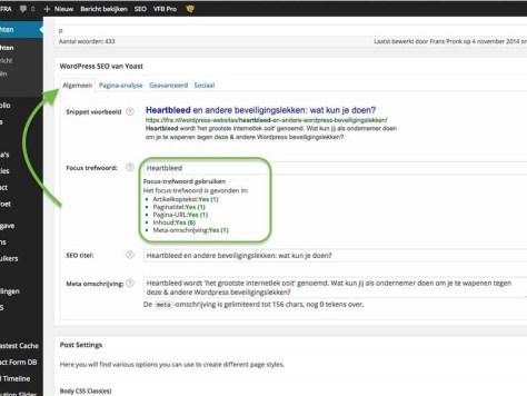 In het algemene deel van de SEO-plug-in van Yoast ziet u hoe goed uw artikel of pagina scoort op het opgegeven focuszoekwoord.