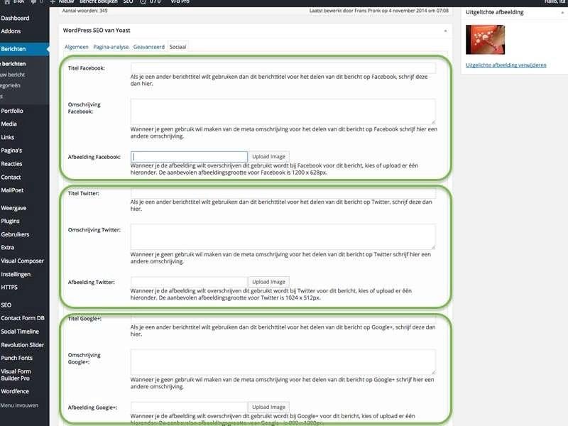 Binnen het onderdeel Sociaal van de plug-in van Yoast kunt u specifieke titels, omschrijvingen en passende afbeeldingen ingeven.