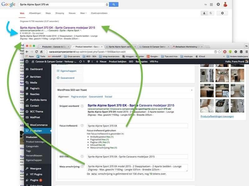 De prijs- en voorraadgegevens uit de WooCommerce-webwinkel worden direct bij de zoekresultaten vermeld.
