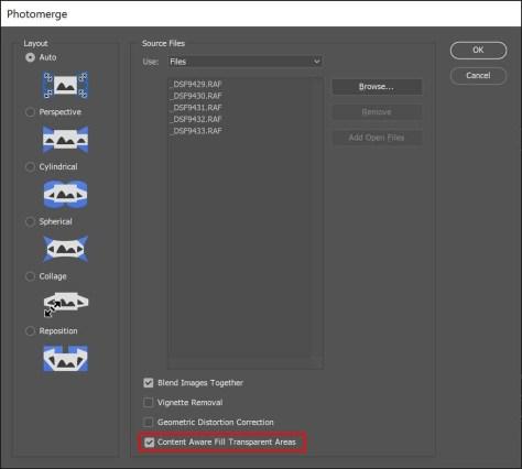 Bij het samenstellen van een panorama in Photoshop kun je kiezen voor 'Content Aware Fill Transparant Areas'.