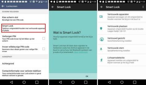 Smart Lock op een Android-telefoon.