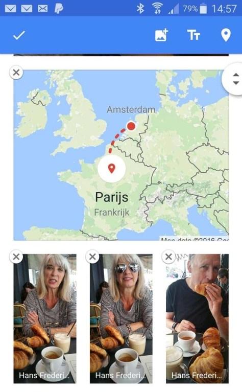 Een kaart toevoegen van een reis naar Parijs.