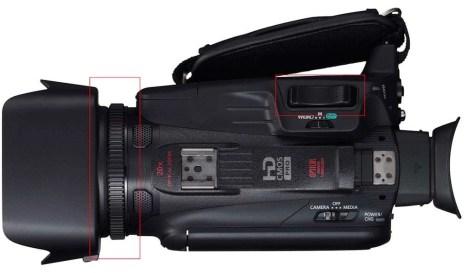 Met de zoomring op het objectief wordt ingezoomd op het onderwerp. Dit kan ook met de zoomknop. Door de knop dieper in te drukken wordt sneller ingezoomd.