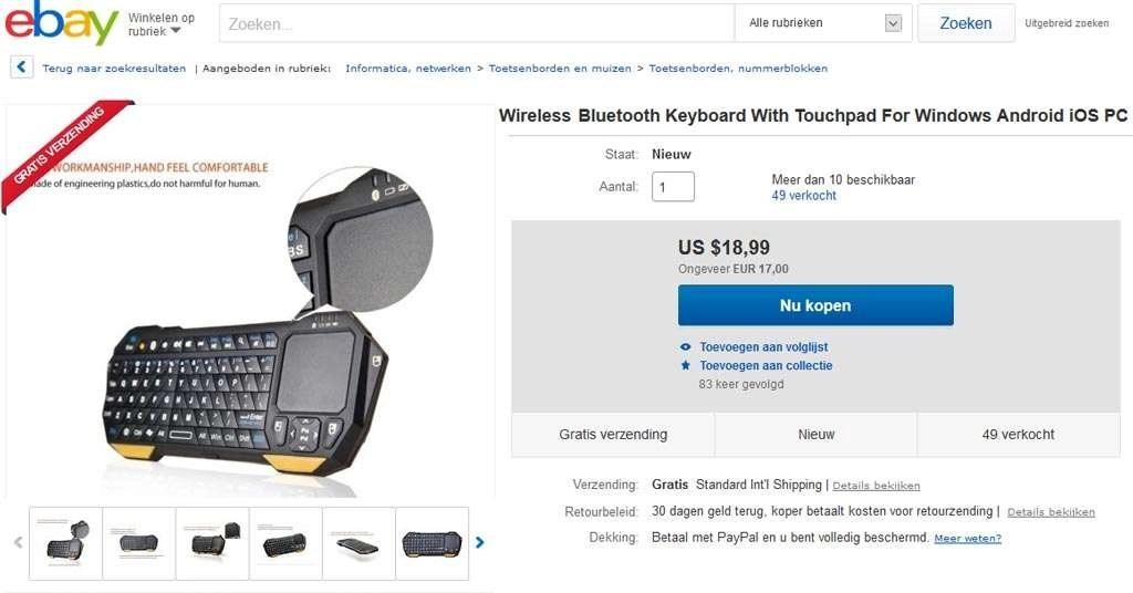 Ook is er op eBay keuze genoeg wat mini Bluetooth-toetsenbordjes betreft, qua prijsklasse is er voor elk wat wils te vinden.