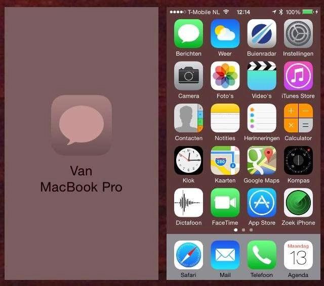 Een bericht dat u typt in Berichten op de Mac kunt u eveneens verder bewerken op de iPhone, iPad of iPod Touch.