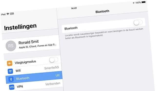 Via Instellingen Bluetooth uiztetten is de enige manier in iOS 11 die écht werkt