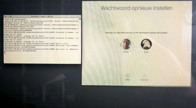 password reset gecrashte iMac