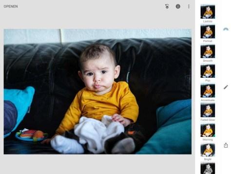De nieuwe interface van Snapseed