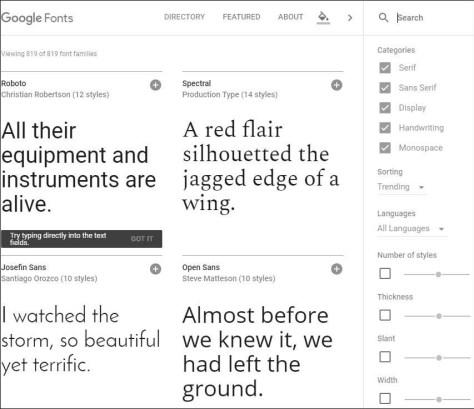 Web fonts van Google
