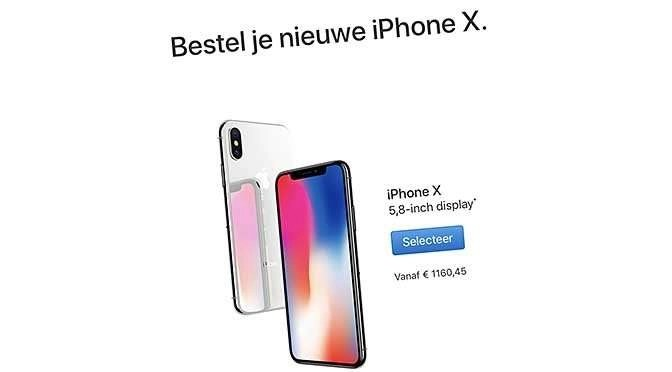 De iPhone X is misschien toch net wat te duur (screenshot website Apple.nl)