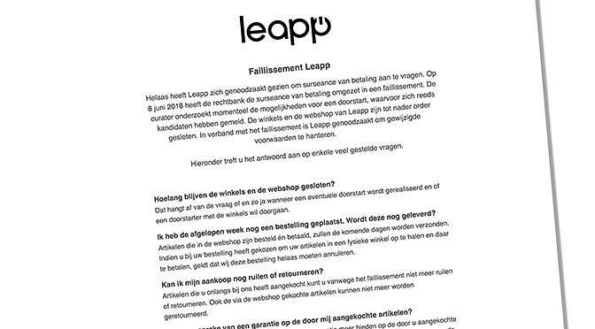 Leapp is failliet