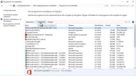 Configuratiescherm in Windows 10