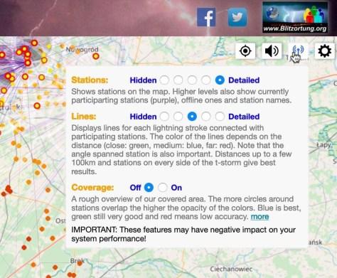 Met deze website volgt u niet alleen live en wereldwijd onweer, u ziet desgewenst ook welke meetstations aan de plaatsbepaling hebben bijgedragen.