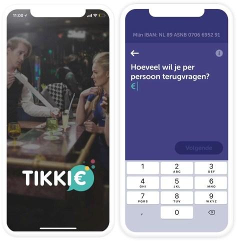 Screens van Tikkie-app
