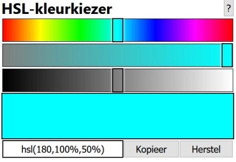 Interface voor het instellen van een HSL-kleur