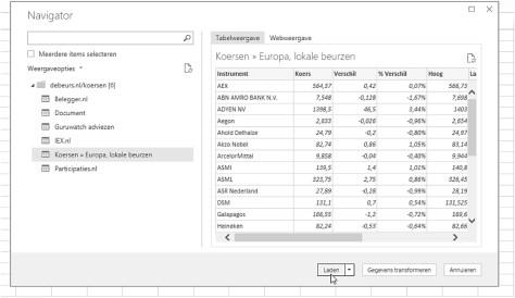 Gegevens importeren van een webpagina naar Excel