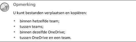 U kunt bestanden verplaatsen en kopiëren: binnen hetzelfde team, tussen teams, binnen dezelfde OneDrive, tussen OneDrive en een team.