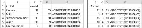 functie GROOTSTE in Excel