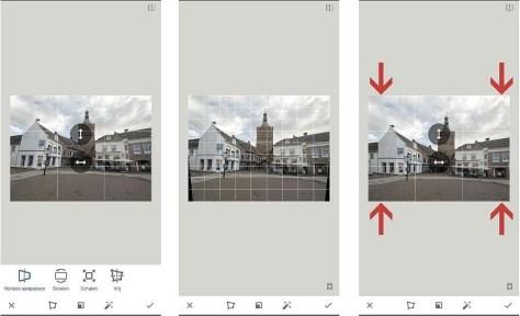 perspectief corrigeren in Snapseed