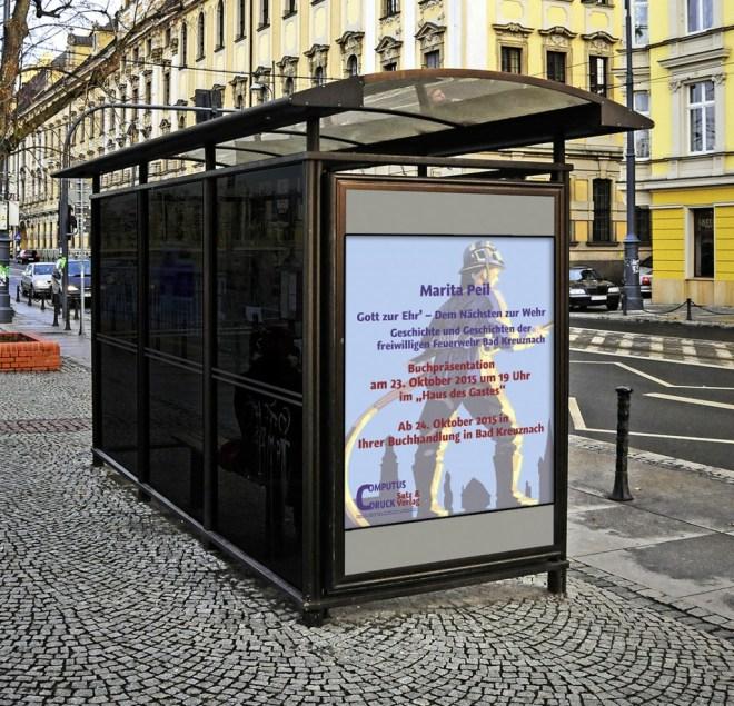Plakat an der Bushaltestelle